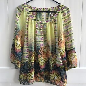 Anthropologie Fig and flower sheer top. XLP